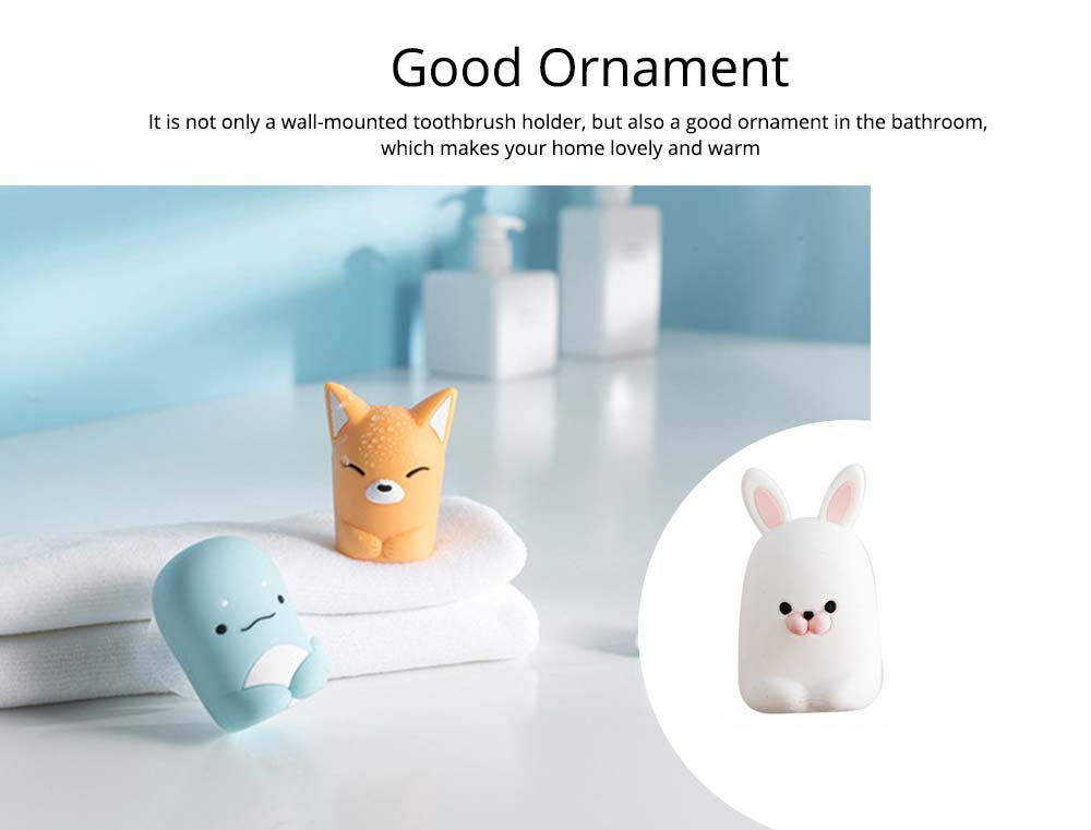 Suction Toothbrush Holder, Mini Animal Wall Mounted Toothbrush Organizer, Inverted Hanging Toothbrush Holder 5