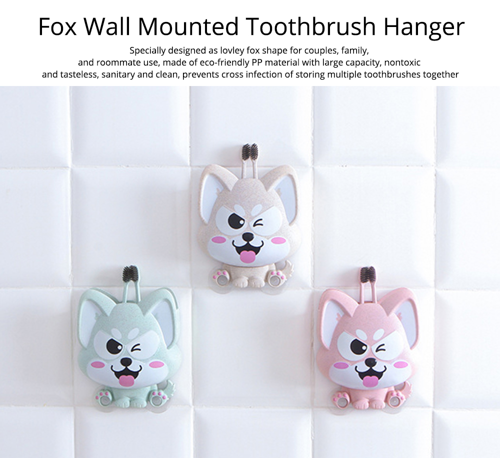 Wall Mounted Toothbrush Hanger for Bathroom, Fox Shape Toothbrush Holder for Family Couples Roommates Use 0