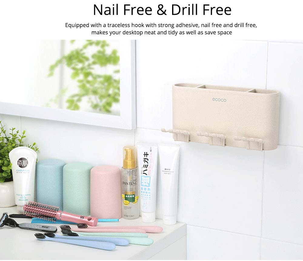 Toothbrush Holder Wall Mounted for Bathroom, Eco-friendly Degradable Wheat-straw Toothbrush Cups Set 3