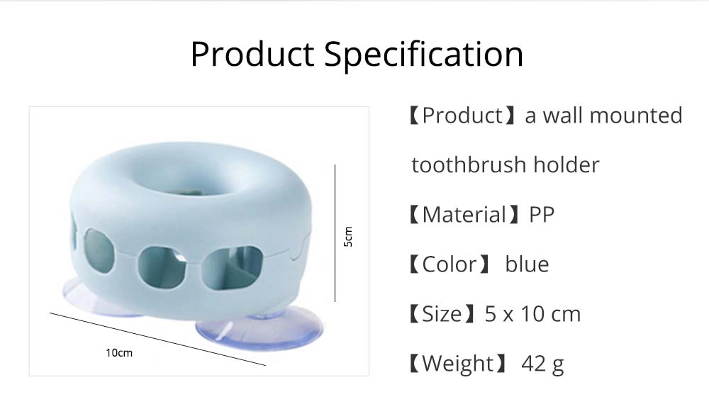 Wall Mounted Toothbrush Holder, Doughnut Shape Toothbrush Organizer, Bathroom No Drill Toothbrush Container 7