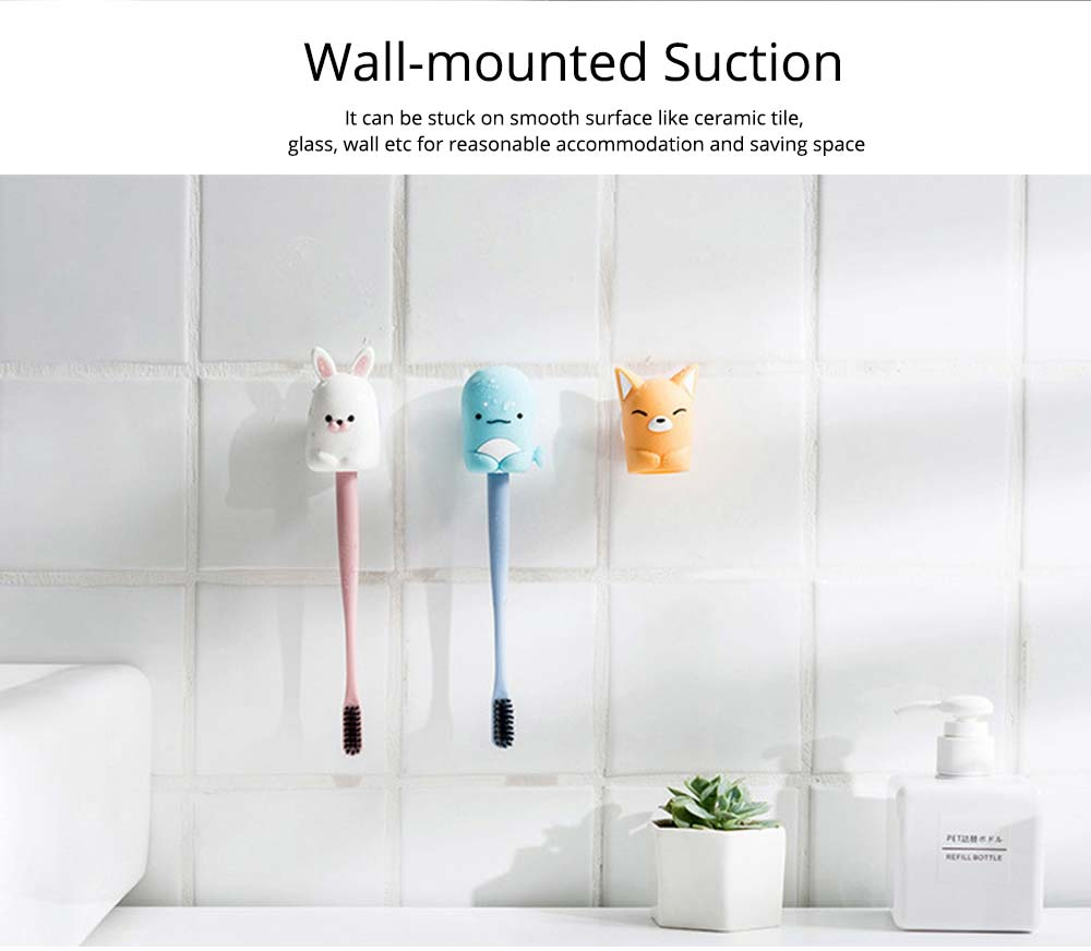 Suction Toothbrush Holder, Mini Animal Wall Mounted Toothbrush Organizer, Inverted Hanging Toothbrush Holder 2