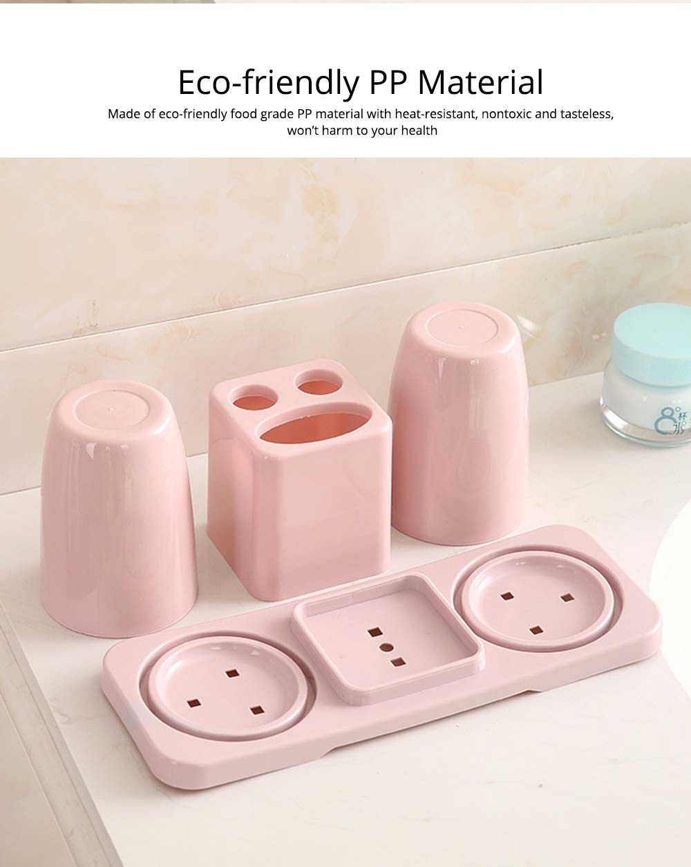 Toothbrush Holder with Cups, Bathroom Toothbrush Cups Organizer Set with Draining Rack for Couples Family Roommates 1