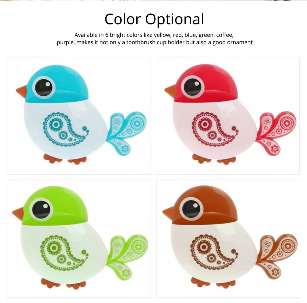 Creative Hanging Toothbrush Holder, Lovely Bird Shape Bathroom Toothbrush Hanger Organizer for Home, Dormitory, Hotel 7