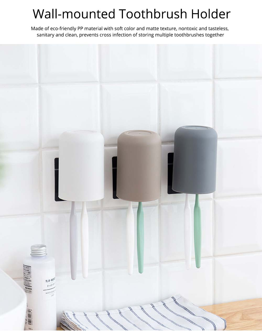 Wall-mounted Toothbrush Holder, Toothbrush Cup, Elegant Color Mouth Cup 0