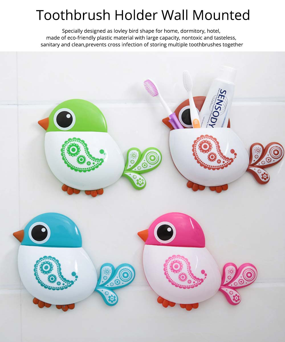 Creative Hanging Toothbrush Holder, Lovely Bird Shape Bathroom Toothbrush Hanger Organizer for Home, Dormitory, Hotel 0