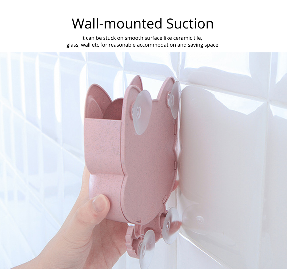 Wall Mounted Toothbrush Hanger for Bathroom, Fox Shape Toothbrush Holder for Family Couples Roommates Use 2