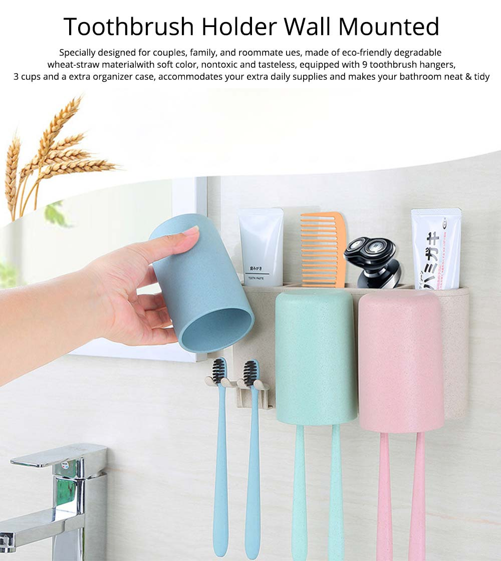 Toothbrush Holder Wall Mounted for Bathroom, Eco-friendly Degradable Wheat-straw Toothbrush Cups Set 0