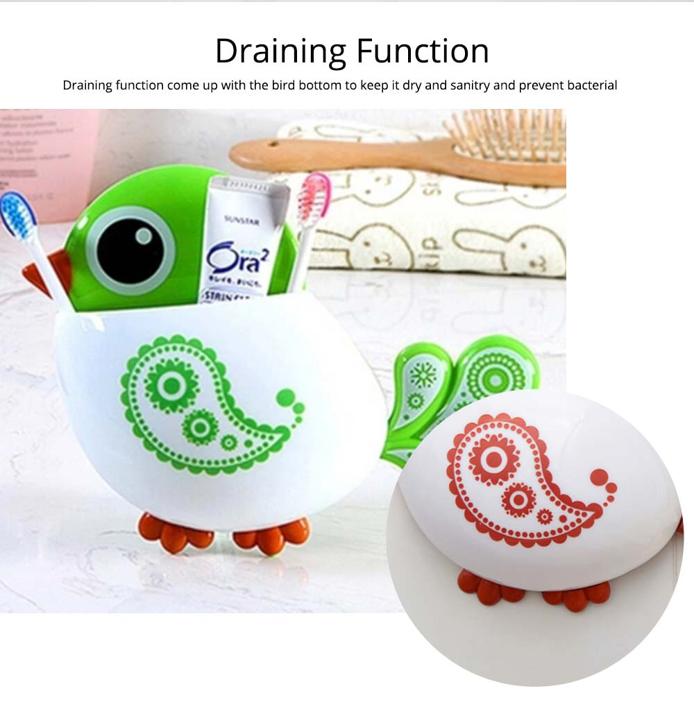 Creative Hanging Toothbrush Holder, Lovely Bird Shape Bathroom Toothbrush Hanger Organizer for Home, Dormitory, Hotel 5