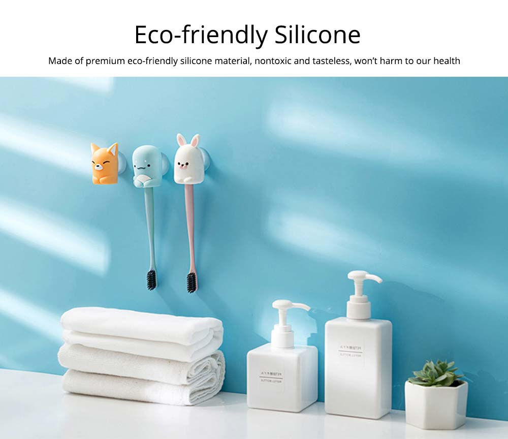 Suction Toothbrush Holder, Mini Animal Wall Mounted Toothbrush Organizer, Inverted Hanging Toothbrush Holder 3