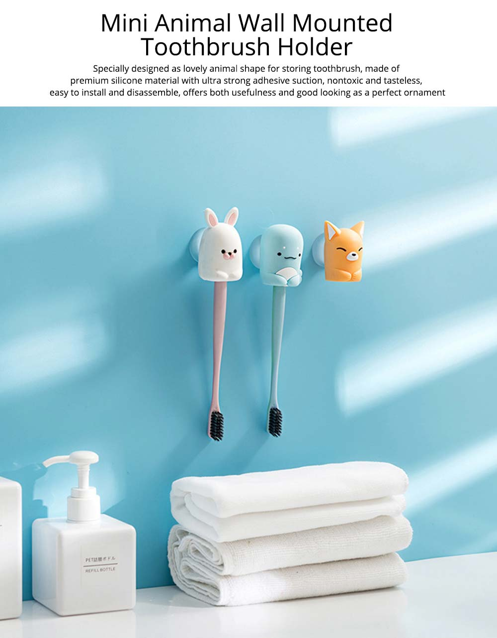 Suction Toothbrush Holder, Mini Animal Wall Mounted Toothbrush Organizer, Inverted Hanging Toothbrush Holder 0