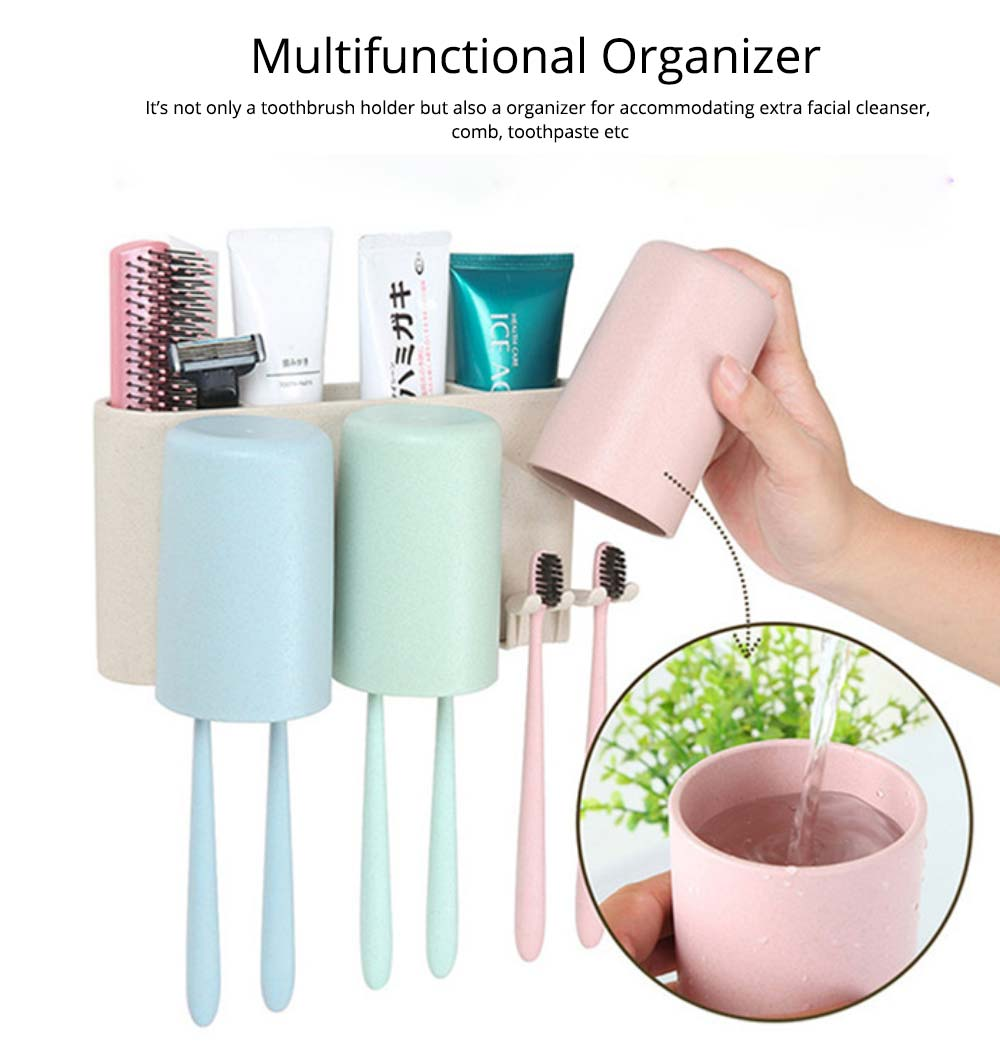 Toothbrush Holder Wall Mounted for Bathroom, Eco-friendly Degradable Wheat-straw Toothbrush Cups Set 7