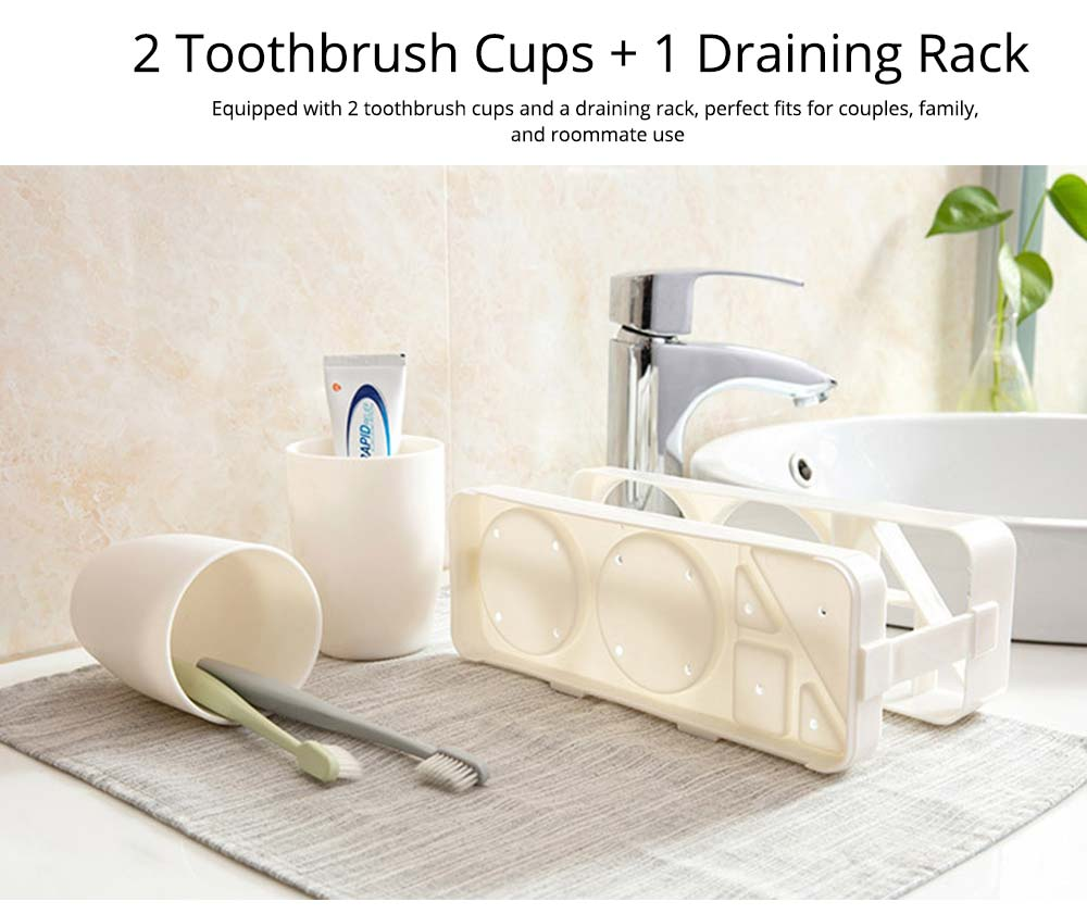 Bathroom Cup Set with Draining Rack, Durable Toothbrush Cup Holder for Bathroom Hotel Traveling Business Trip 2