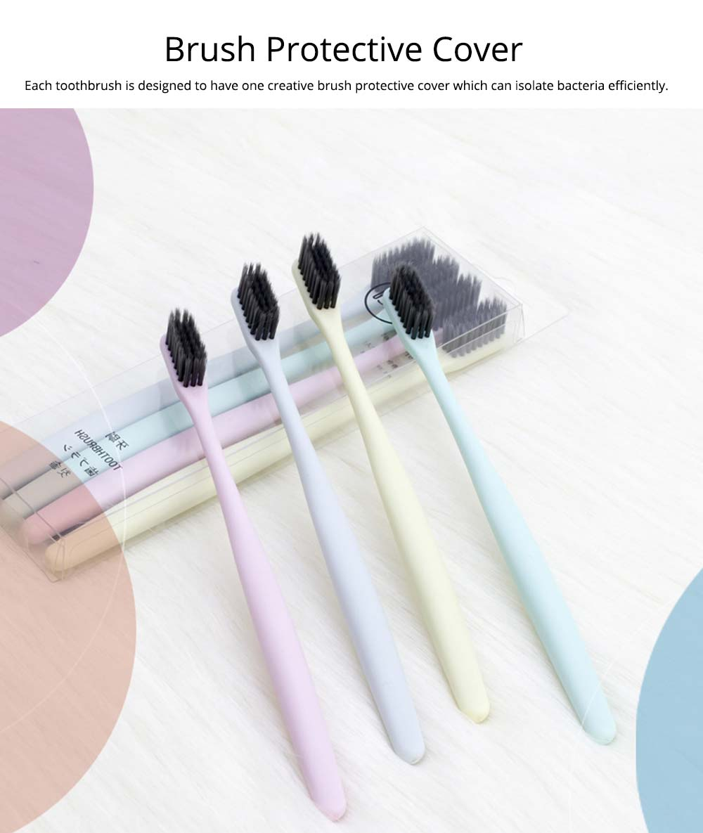 Household Ultra Soft Toothbrushes Available for Men Women Kids, Hotel Travel Use Bamboo Charcoal Toothbrush 4 Pieces 3