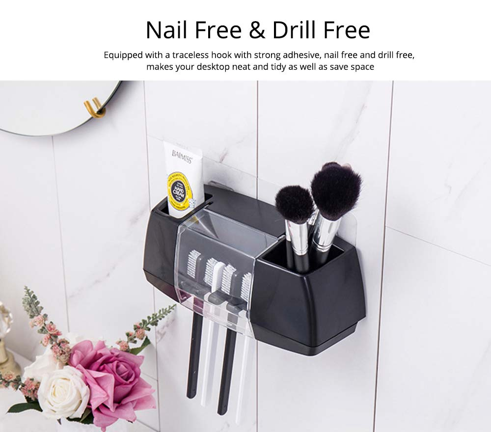Nail Free Toothbrush Holder, Hanging Toothbrush Organizer for Bathroom, High Bearing Capacity Toothbrush Storage Container 2