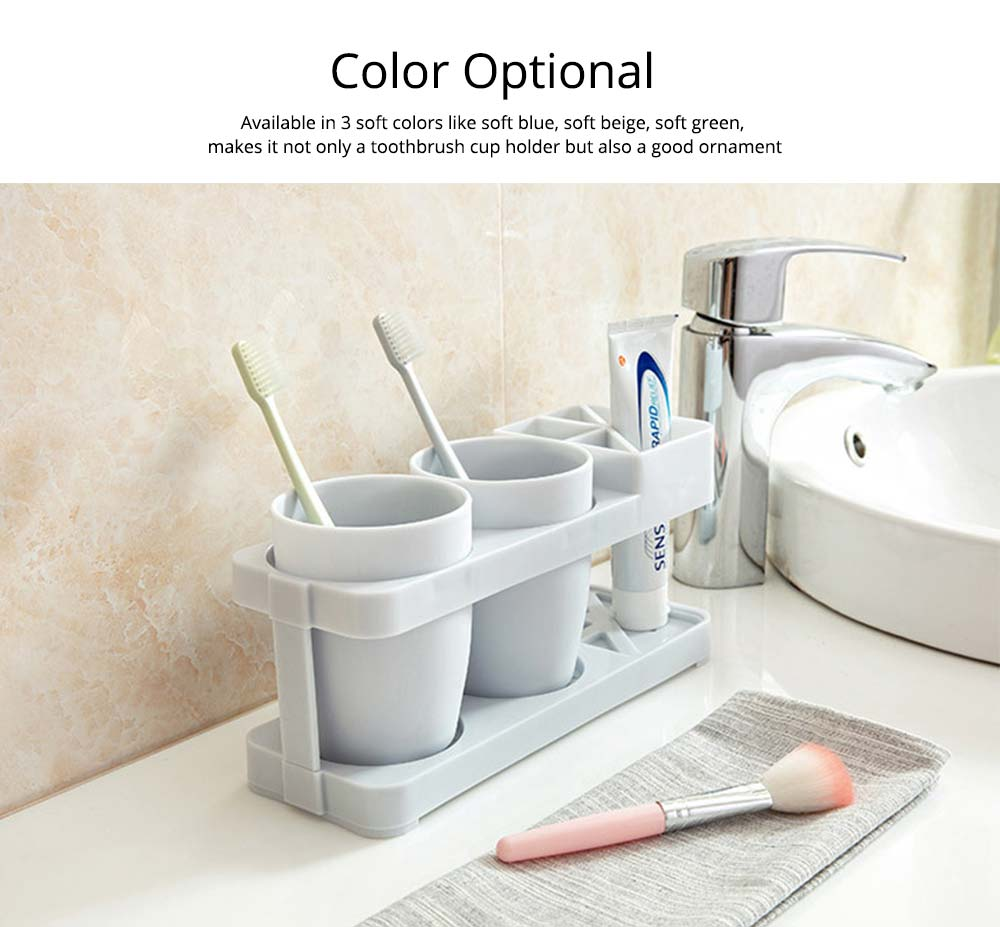 Bathroom Cup Set with Draining Rack, Durable Toothbrush Cup Holder for Bathroom Hotel Traveling Business Trip 6