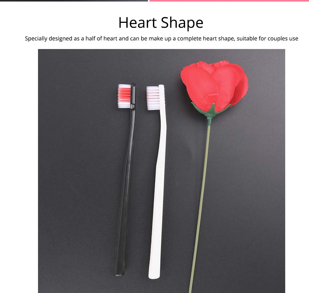 Heart Shape Couple Toothbrush for Hotel, Travel, 2 Pieces Lover Black White Toothbrushes with Ultra Soft Bristles 5