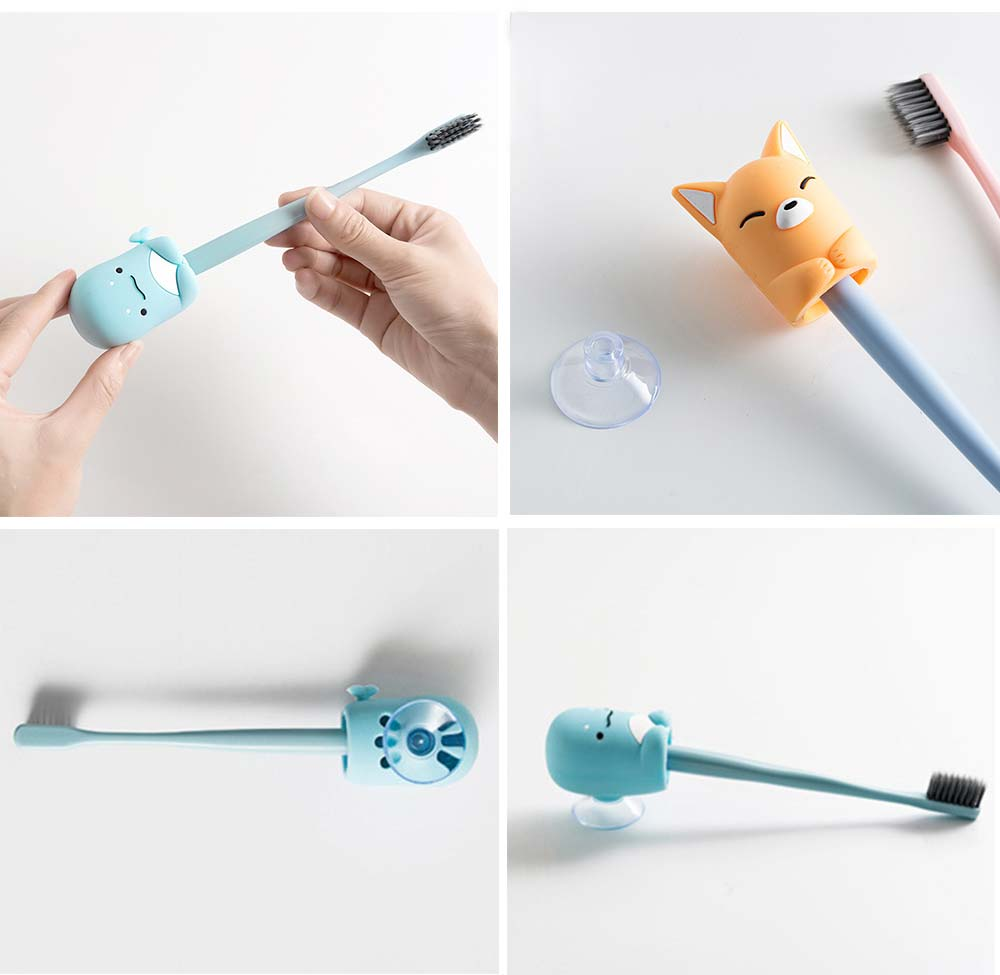 Suction Toothbrush Holder, Mini Animal Wall Mounted Toothbrush Organizer, Inverted Hanging Toothbrush Holder 4