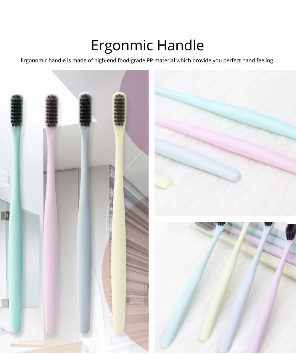 Household Ultra Soft Toothbrushes Available for Men Women Kids, Hotel Travel Use Bamboo Charcoal Toothbrush 4 Pieces 2