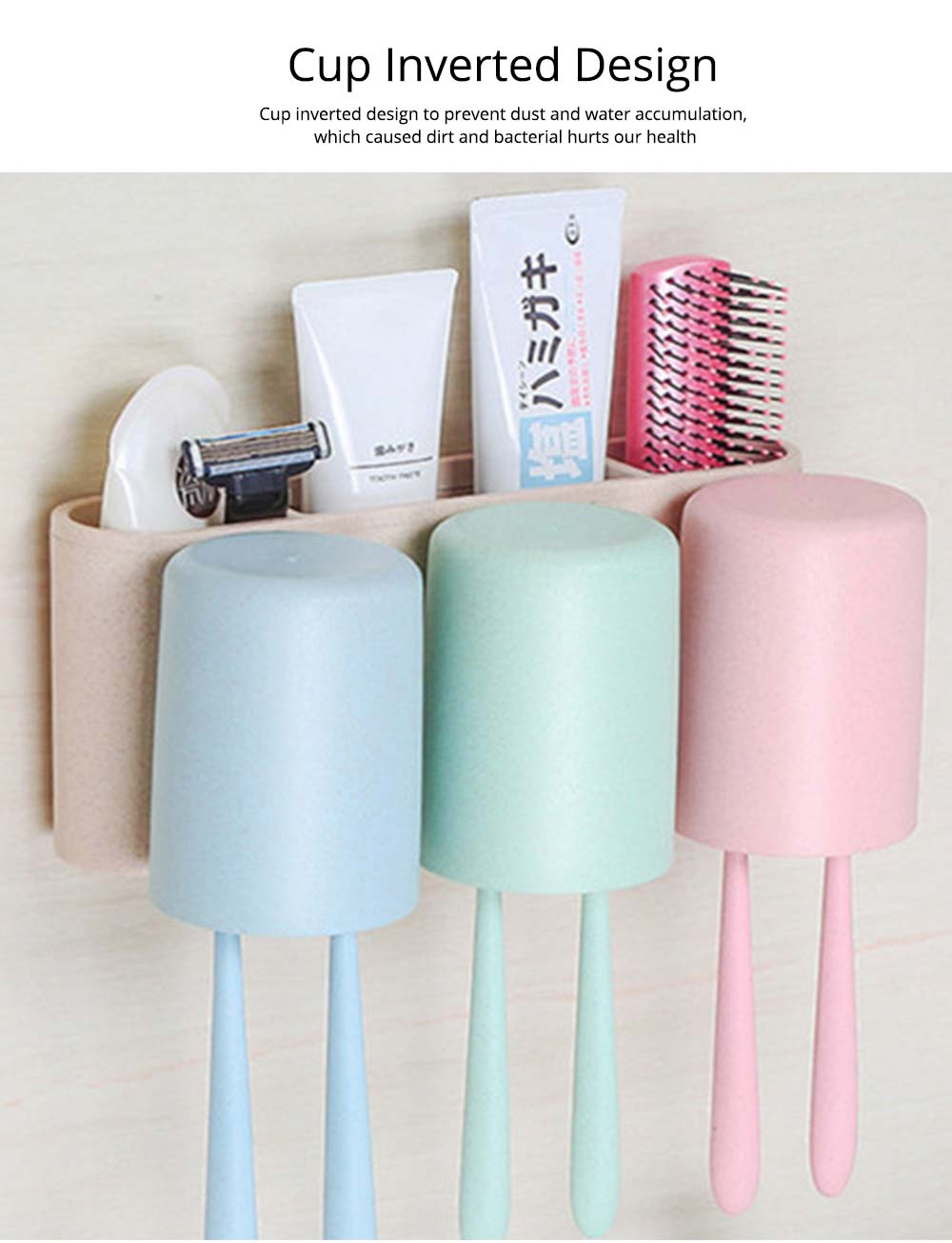 Toothbrush Holder Wall Mounted for Bathroom, Eco-friendly Degradable Wheat-straw Toothbrush Cups Set 6