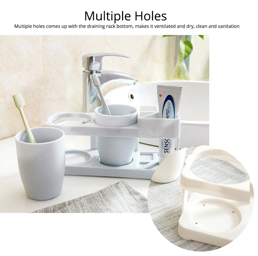 Bathroom Cup Set with Draining Rack, Durable Toothbrush Cup Holder for Bathroom Hotel Traveling Business Trip 3