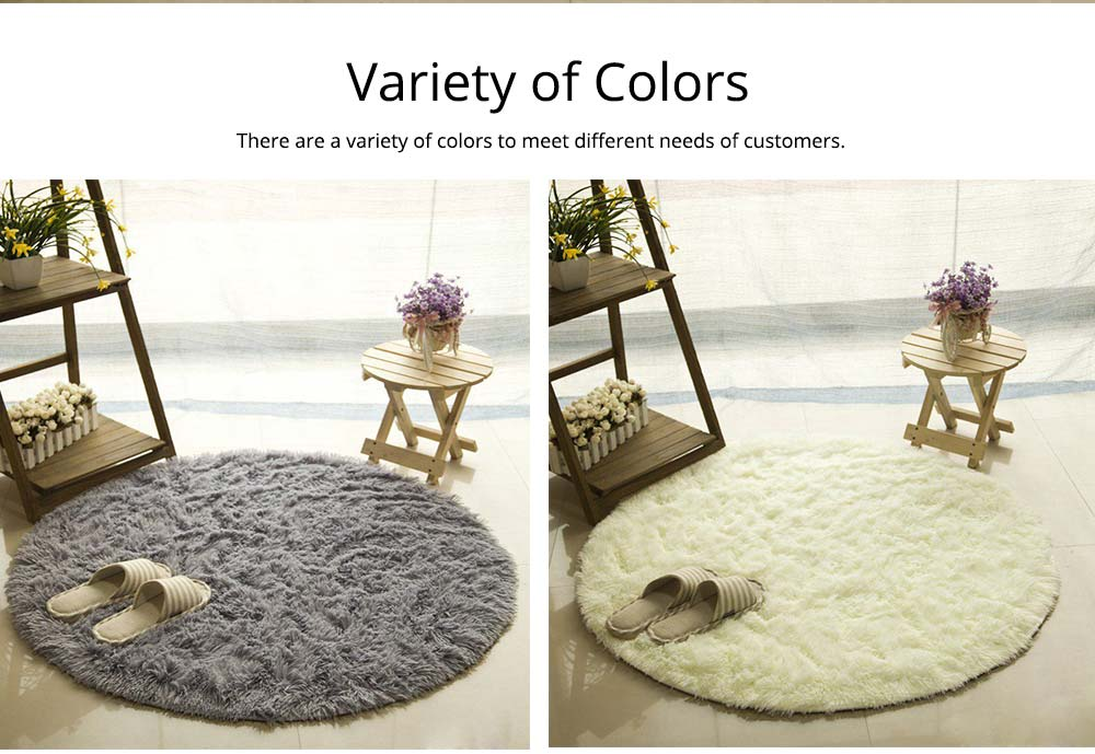 Silk Wool Rugs, Shaggy Fluffy Rugs, Non-slip Round Carpet for Living Room, Rugs for Bedroom 5