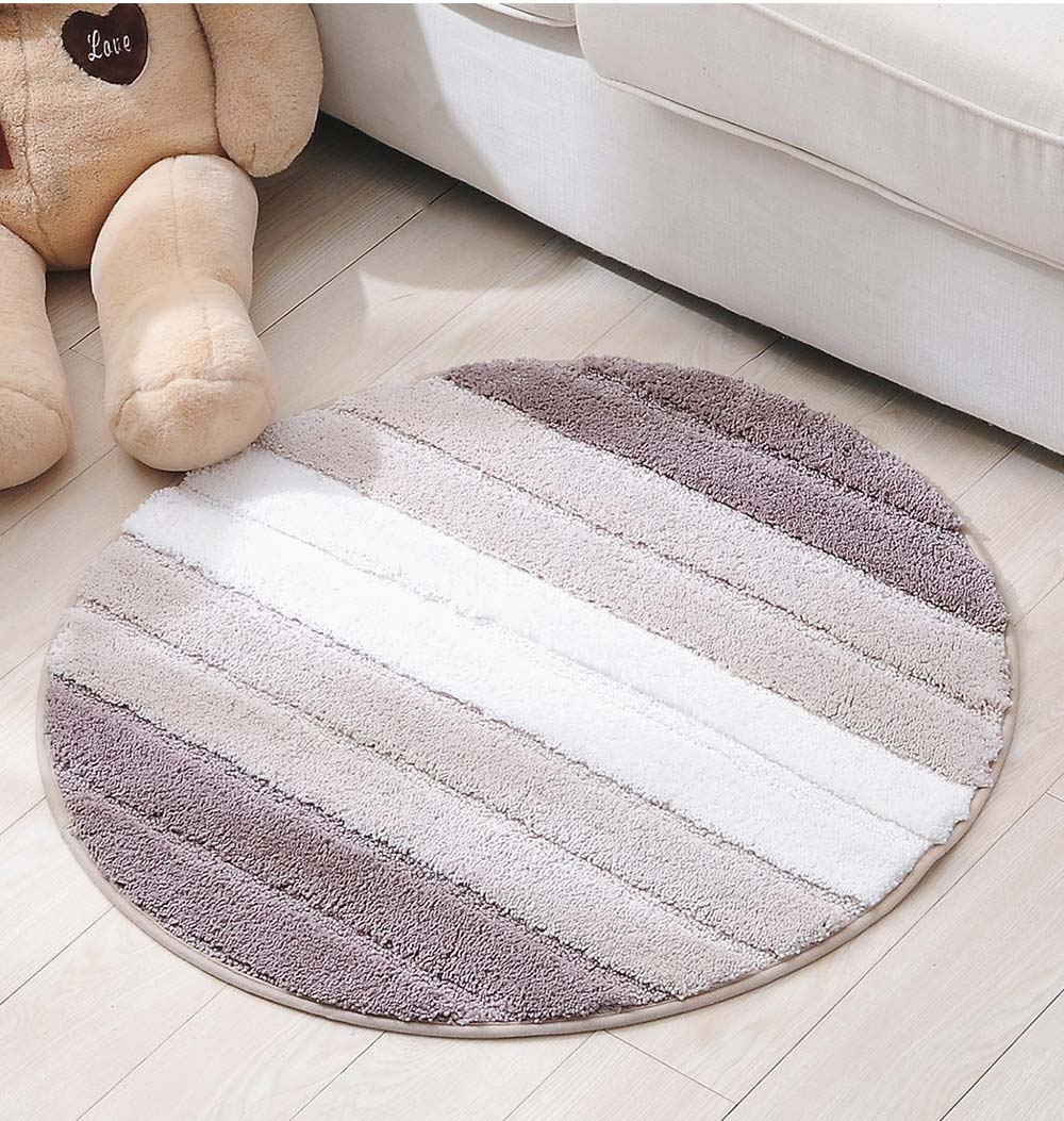 Round Color Rug, Shaggy Fluffy Rugs Carpet, Non-slip Floor Mat for Living Room, Bedroom 12