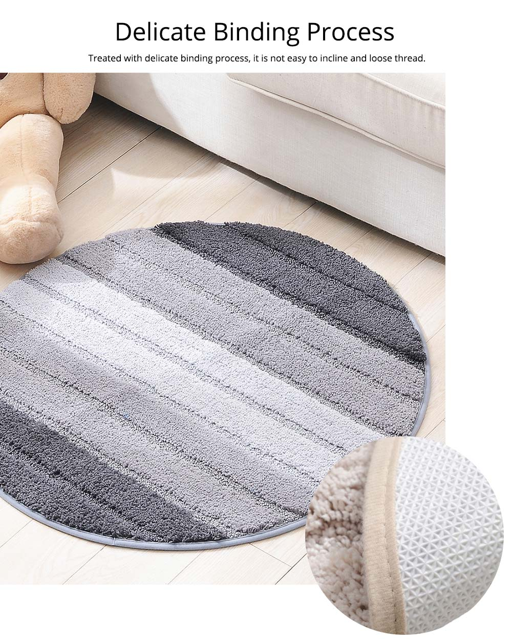 Round Color Rug, Shaggy Fluffy Rugs Carpet, Non-slip Floor Mat for Living Room, Bedroom 10