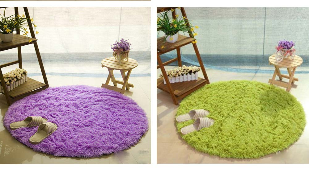 Silk Wool Rugs, Shaggy Fluffy Rugs, Non-slip Round Carpet for Living Room, Rugs for Bedroom 8