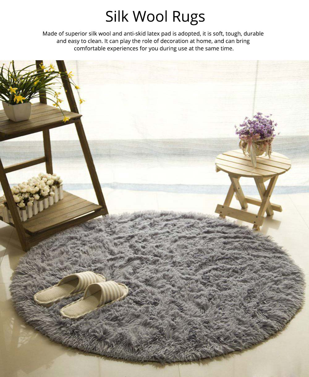 Silk Wool Rugs, Shaggy Fluffy Rugs, Non-slip Round Carpet for Living Room, Rugs for Bedroom 0