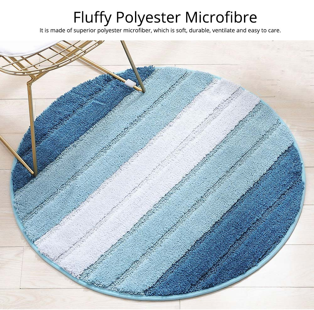 Round Color Rug, Shaggy Fluffy Rugs Carpet, Non-slip Floor Mat for Living Room, Bedroom 8