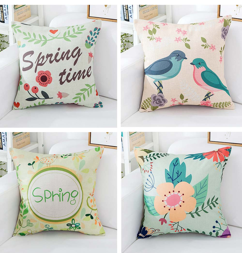 Floral Print Pillowcase with Core Artistic Pastoralism, Light Color Simple Style Linen Cushion Cover 2