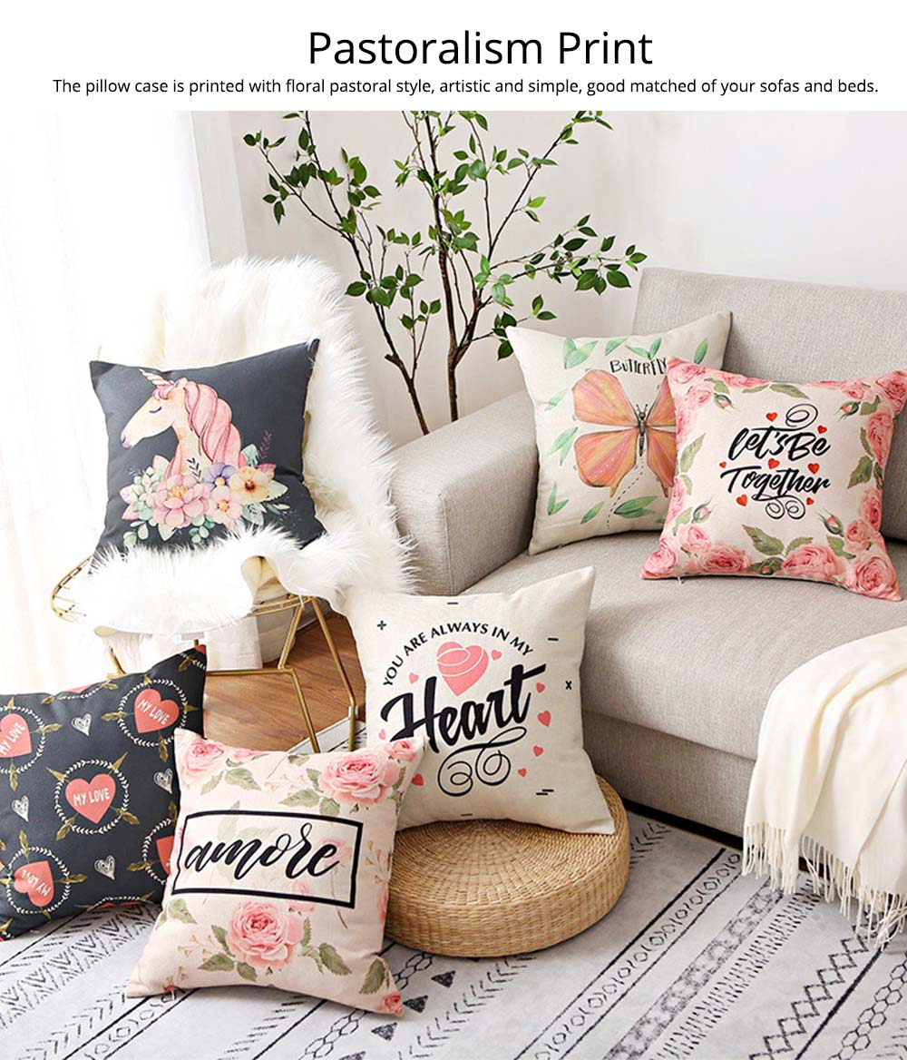 Floral Print Pillowcase with Core Artistic Pastoralism, Light Color Simple Style Linen Cushion Cover 1
