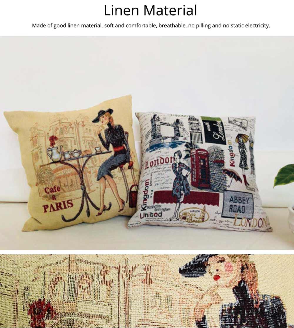Embroidery Owl Pattern Cushion Cover, Artistic Linen Pillowcase Car Pillow Case Home Decor Cushion Cover 11