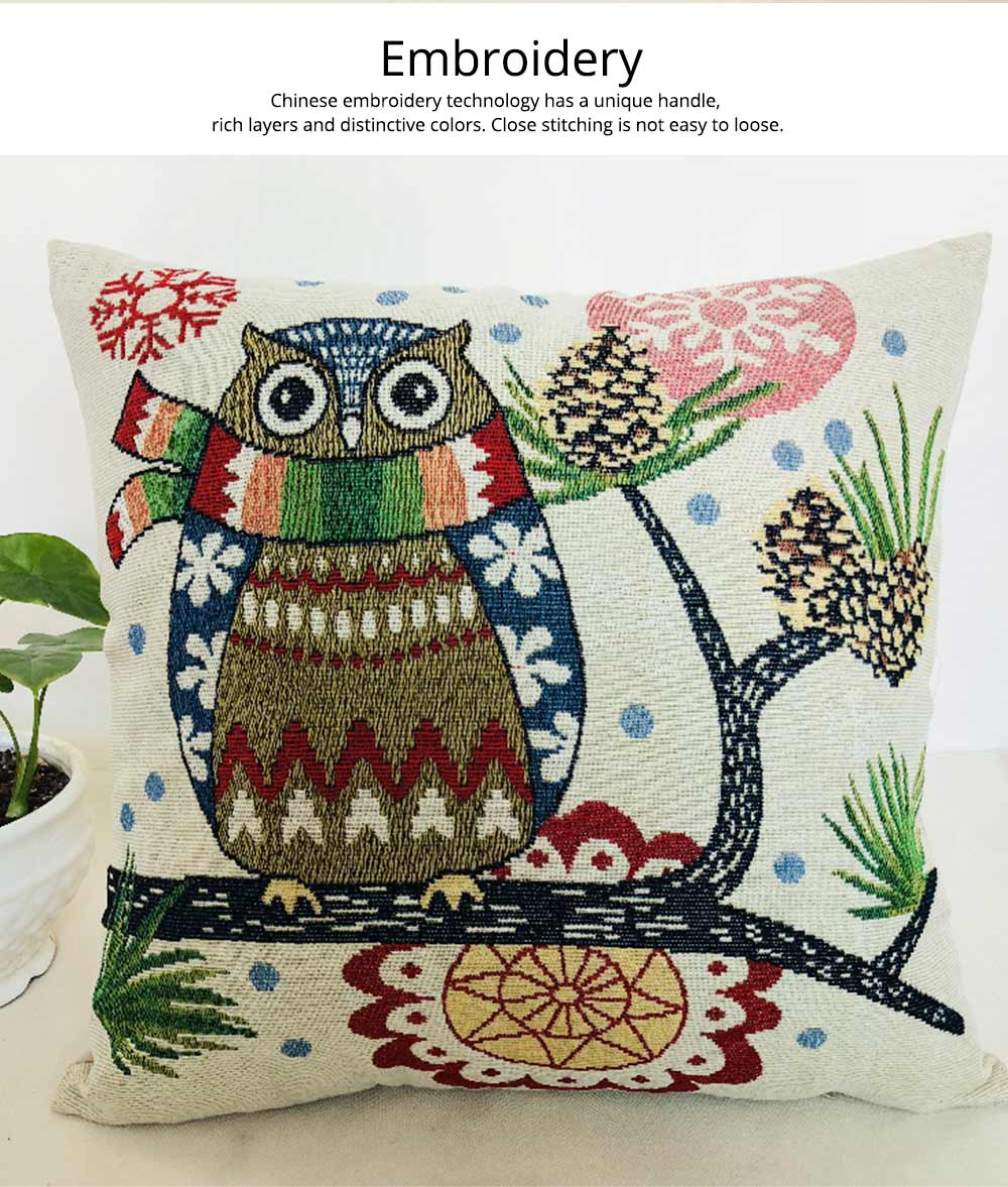 Embroidery Owl Pattern Cushion Cover, Artistic Linen Pillowcase Car Pillow Case Home Decor Cushion Cover 1