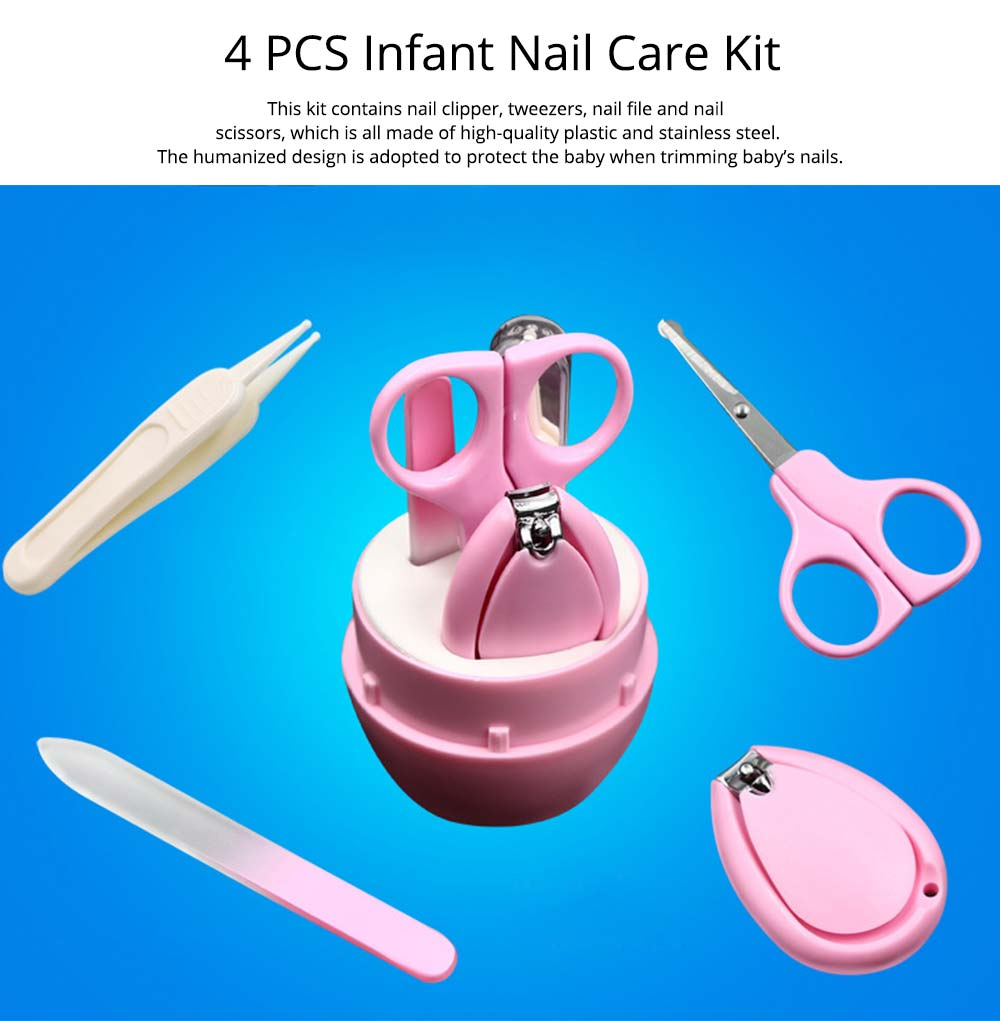Nail Care Kit For Baby, 4 PCS Mini Baby Care Clippers Nail Kit, Manicure Pedicure Kit Trimmer Cutter 0