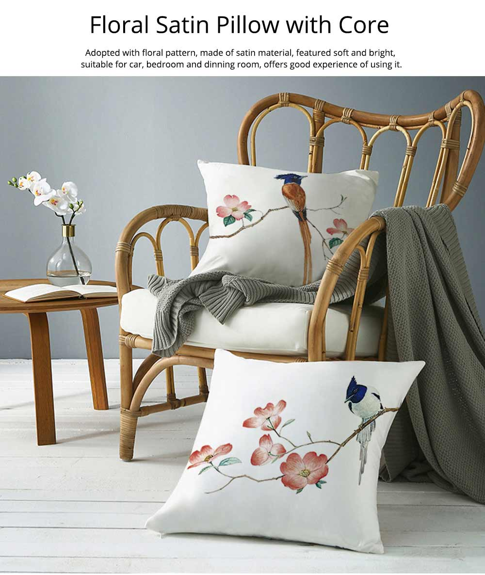 Unique Satin Cushion, Included Polyester Core Floral Pattern Thick Car Bedroom Pillow, 43cm 7