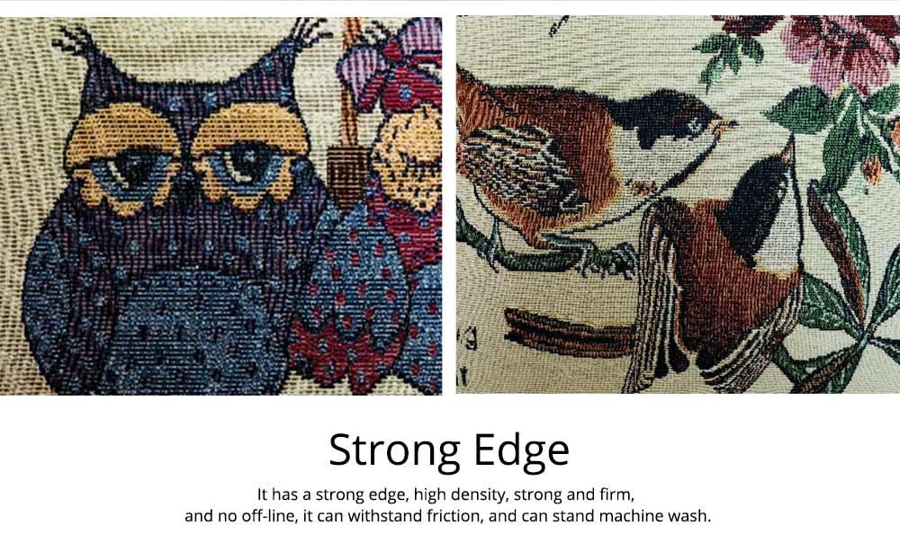 Embroidery Owl Pattern Cushion Cover, Artistic Linen Pillowcase Car Pillow Case Home Decor Cushion Cover 9