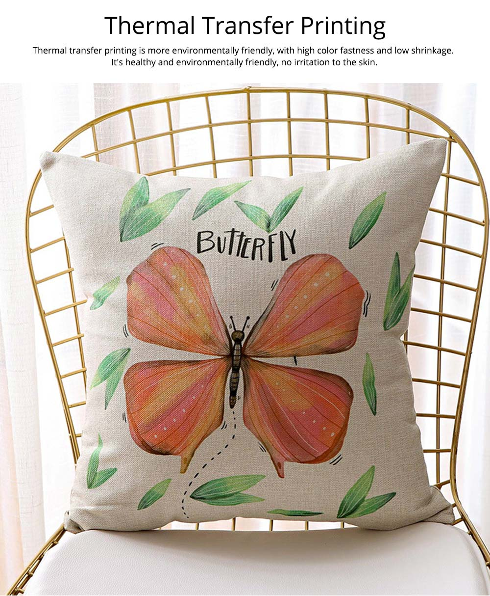 Floral Print Pillowcase with Core Artistic Pastoralism, Light Color Simple Style Linen Cushion Cover 6