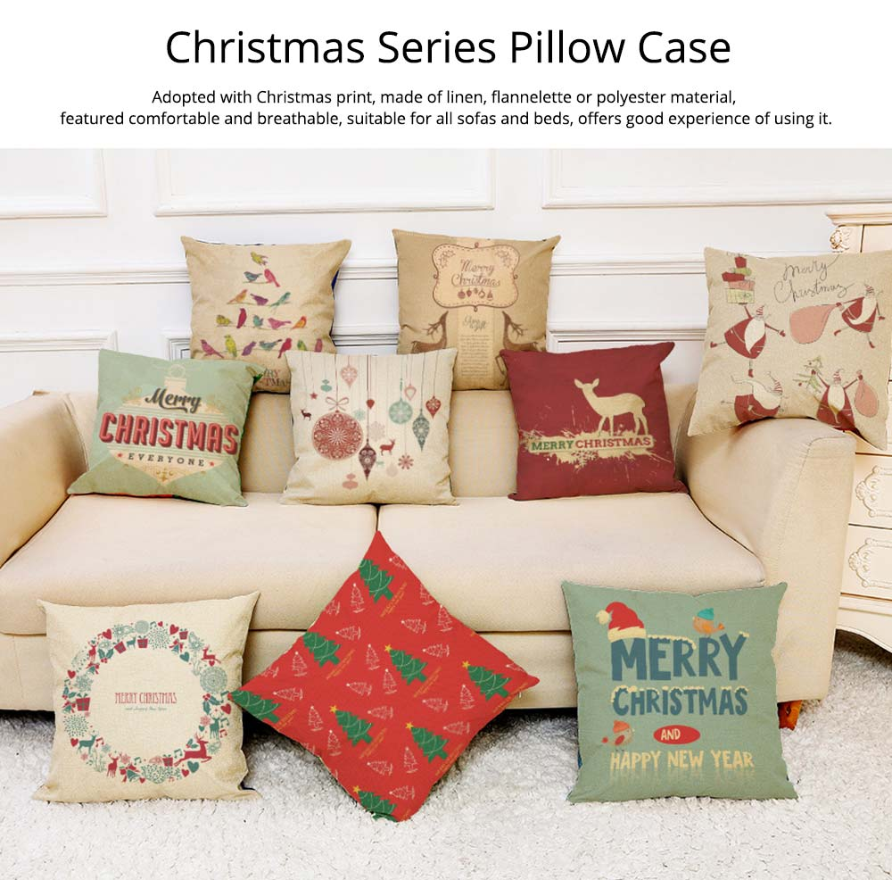 Flannelette Linen Polyester Pillow Case, ew Arrival Christmas Series Home Decoration Cushion Cover 0