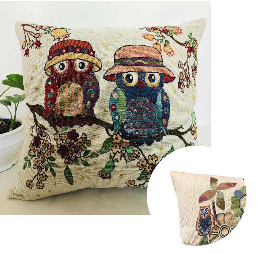 Embroidery Owl Pattern Cushion Cover, Artistic Linen Pillowcase Car Pillow Case Home Decor Cushion Cover 3