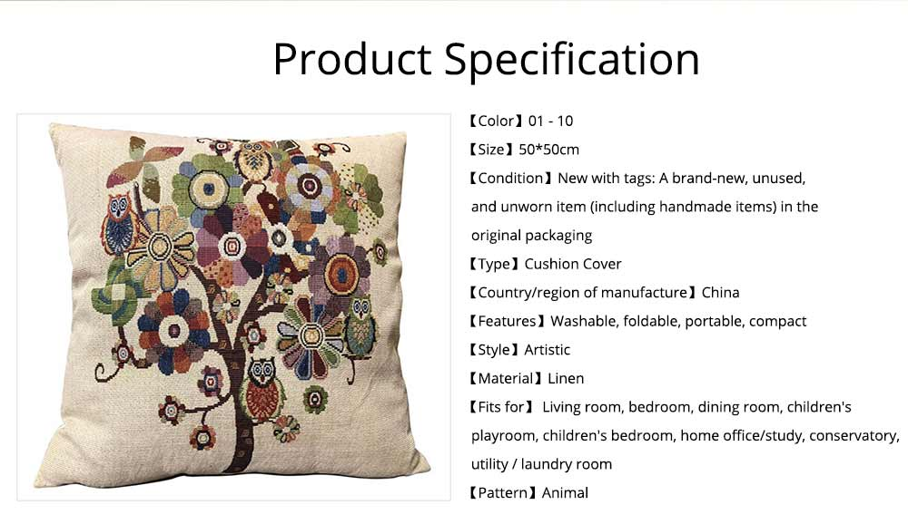 Embroidery Owl Pattern Cushion Cover, Artistic Linen Pillowcase Car Pillow Case Home Decor Cushion Cover 13