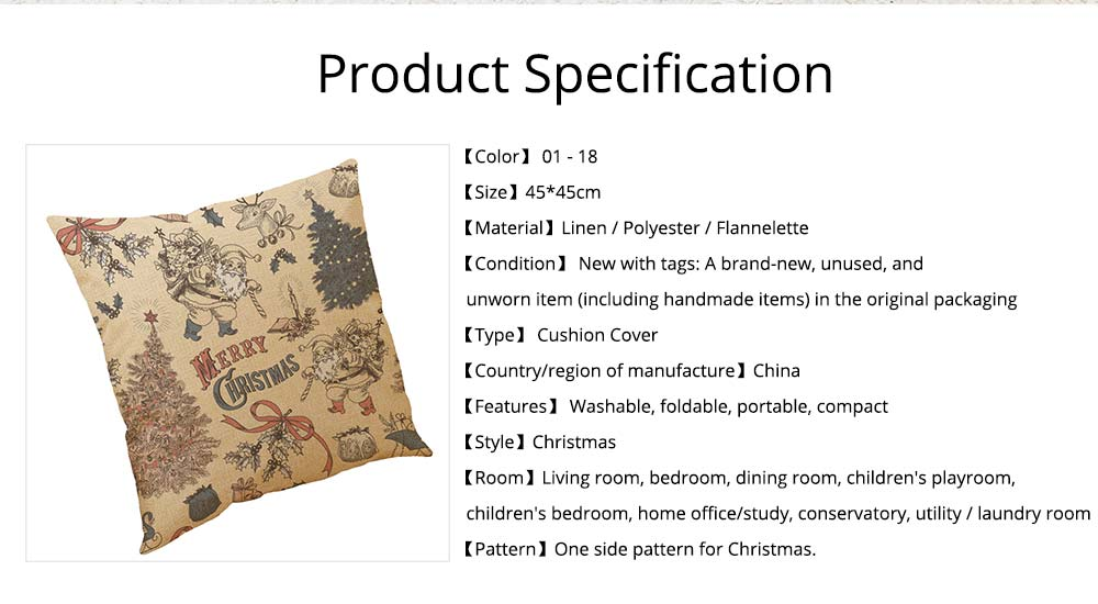 Flannelette Linen Polyester Pillow Case, ew Arrival Christmas Series Home Decoration Cushion Cover 7