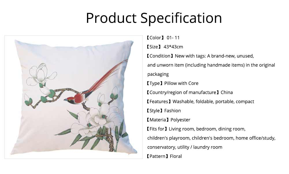 Unique Satin Cushion, Included Polyester Core Floral Pattern Thick Car Bedroom Pillow, 43cm 15