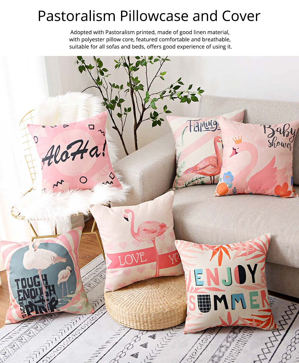 Floral Print Pillowcase with Core Artistic Pastoralism, Light Color Simple Style Linen Cushion Cover 0