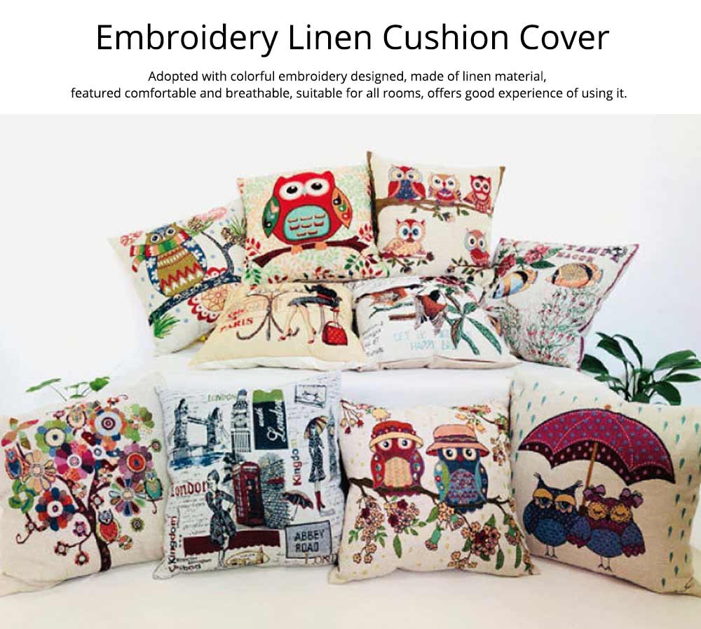 Embroidery Owl Pattern Cushion Cover, Artistic Linen Pillowcase Car Pillow Case Home Decor Cushion Cover 0