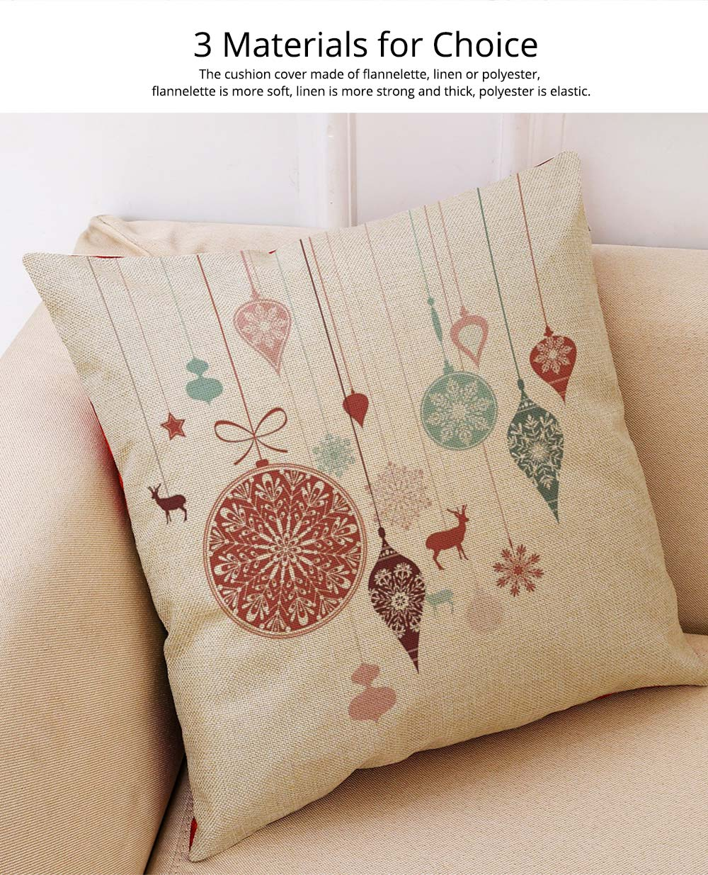 Flannelette Linen Polyester Pillow Case, ew Arrival Christmas Series Home Decoration Cushion Cover 1