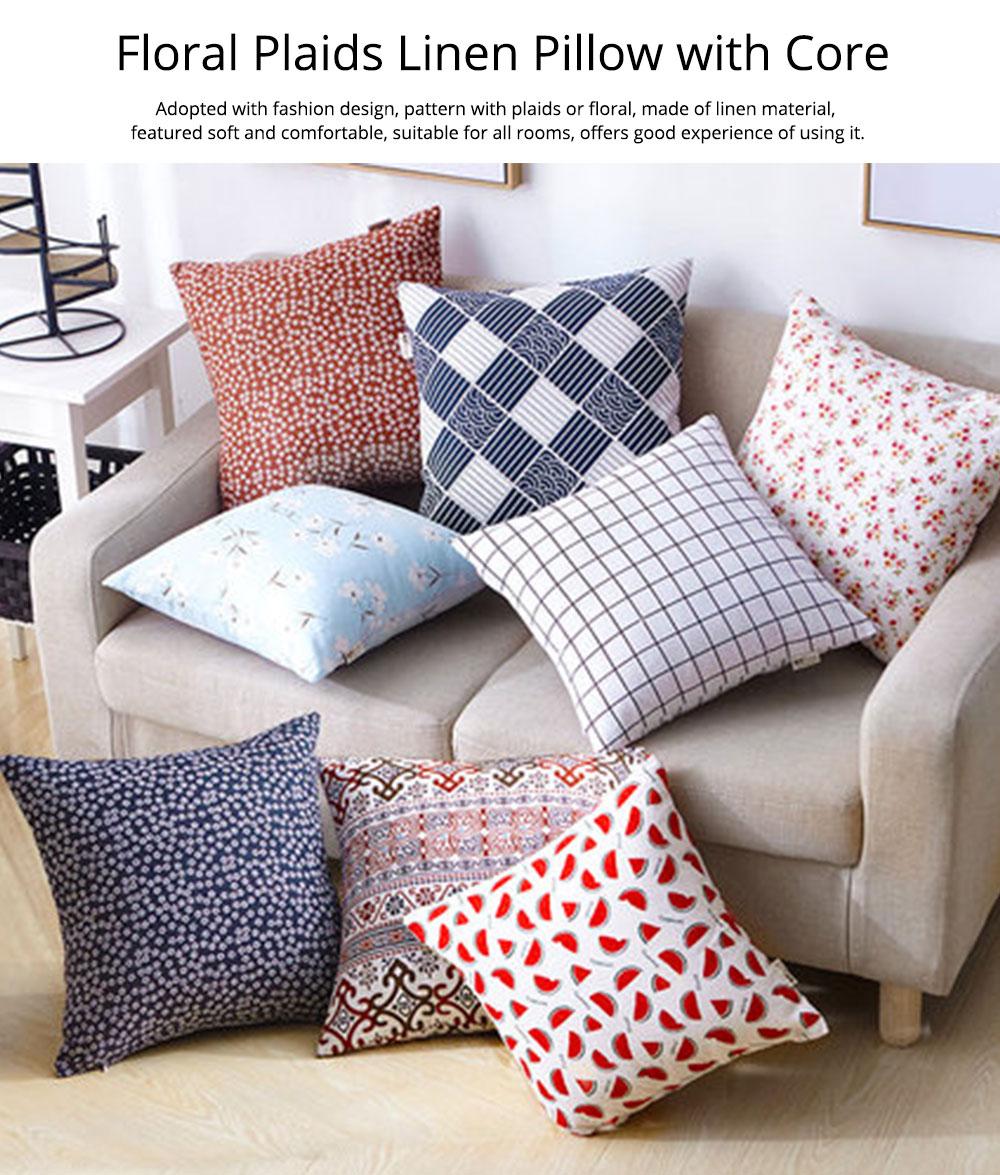 Colorful Plaids Pillow Case Core, Floral Linen Cushion Home Decoration 0