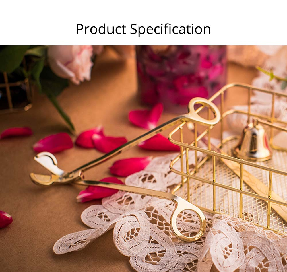 Candle Wick Stainless Steel Scissors, Electroplated 18K Gold Oil Lamp Trim Trimmer Cutter Snuffers 6