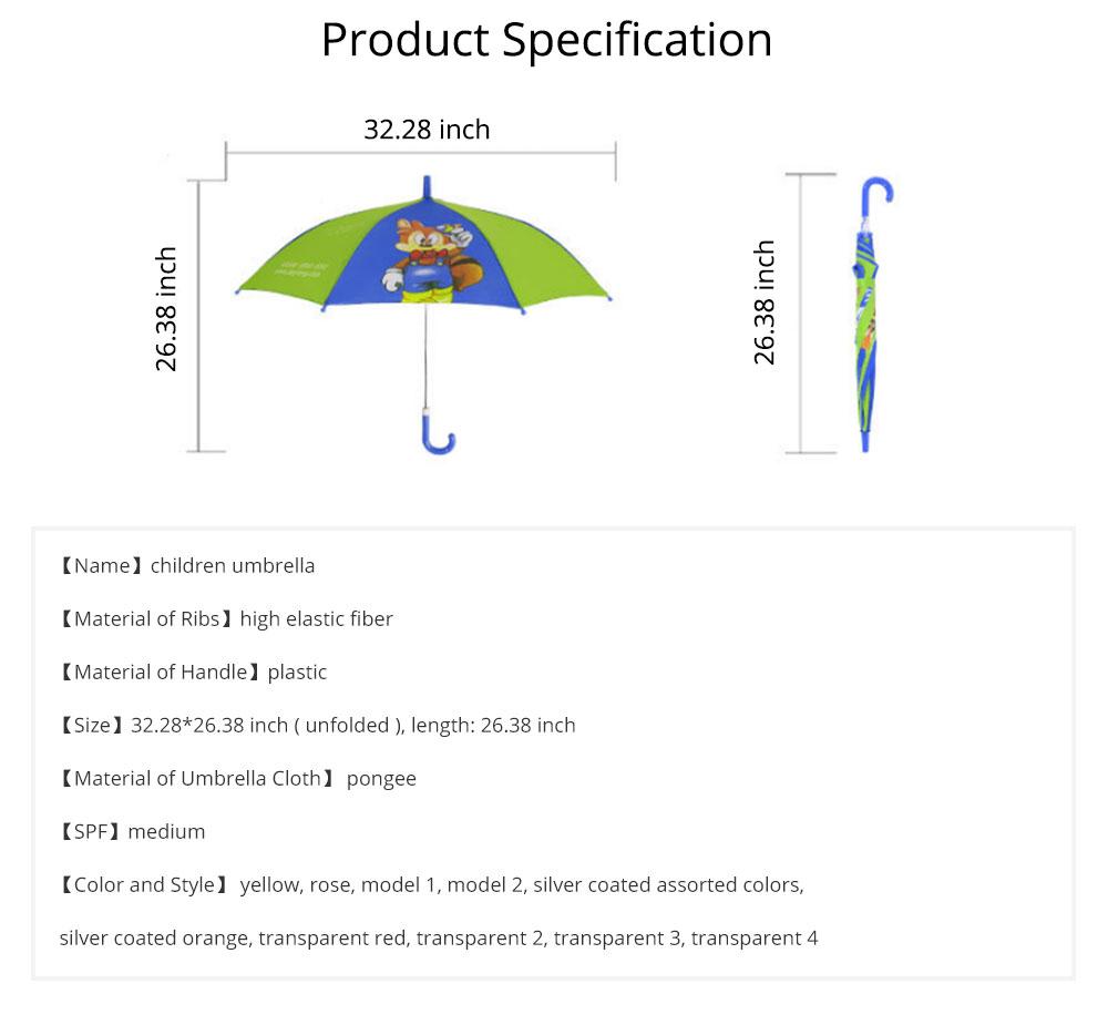 Cute Cartoon Painting Umbrella for Children, Long-handle Non-automatic Sun Rain waterproof Umbrella 8