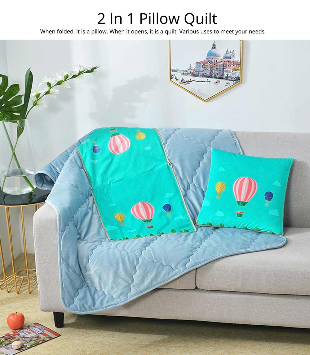 2 In 1 Pillow Detachable Quilt, Blue Flannelette PP Cotton Cushion Home Decor 1